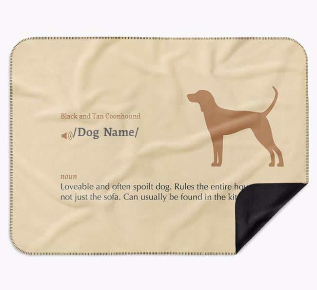 Personalised Definition Blanket with Black and Tan Coonhound Silhouette
