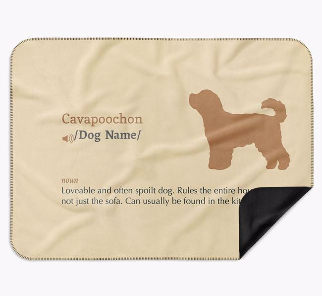 Personalised Definition Blanket with Cavapoochon Silhouette