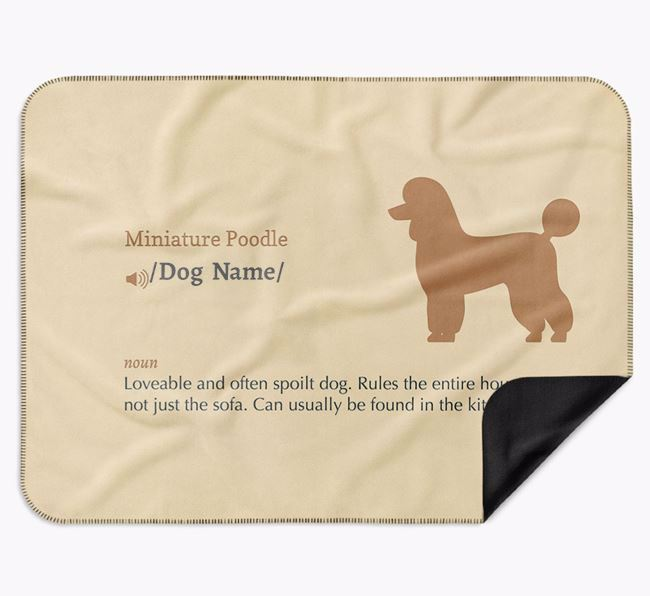 Personalised Definition Blanket with Miniature Poodle Silhouette