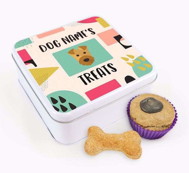 Personalised 'Abstract Design' Square Tin for your Airedale Terrier
