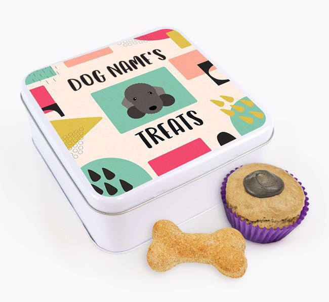 Personalised 'Abstract Design' Square Tin for your Bedlington Terrier