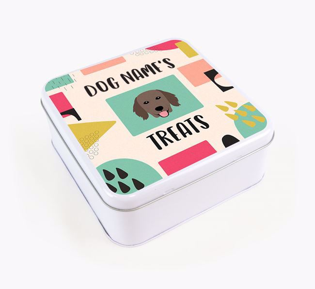 Personalised 'Abstract Design' Square Tin for your Flat-Coated Retriever