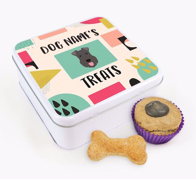 Personalised 'Abstract Design' Square Tin for your Kerry Blue Terrier