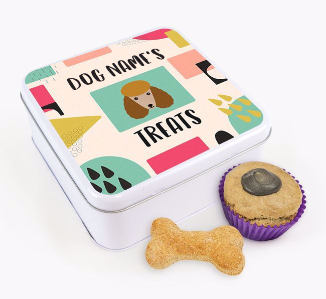 Personalised 'Abstract Design' Square Tin for your Poodle