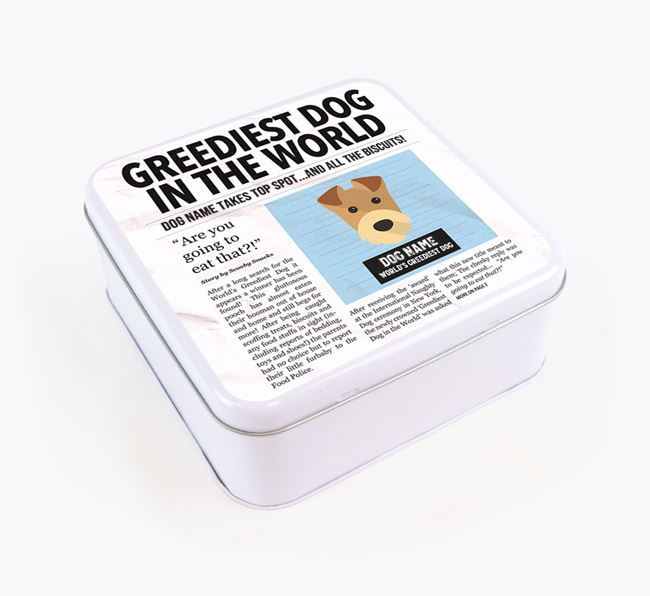 Personalised 'Greediest Dog' Newspaper Print Square Tin for your Airedale Terrier