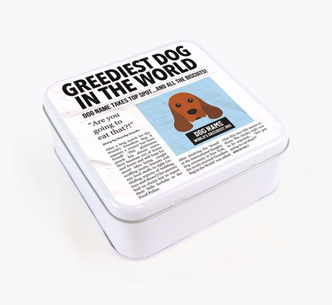 Personalised 'Greediest Dog' Newspaper Print Square Tin for your American Cocker Spaniel