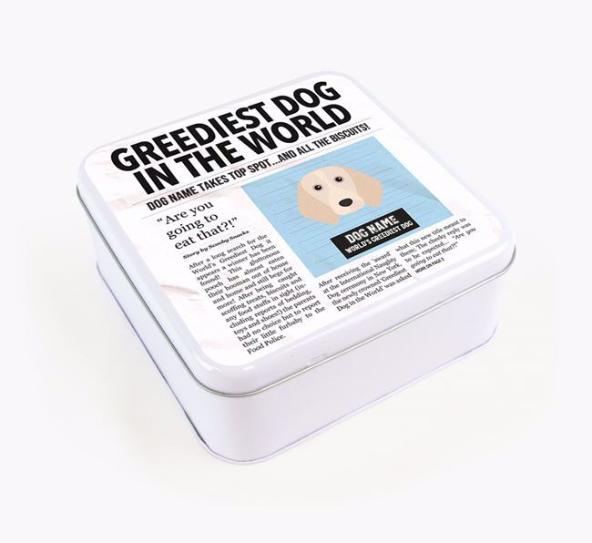 Personalised 'Greediest Dog' Newspaper Print Square Tin for your Beagle