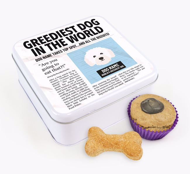 Personalised 'Greediest Dog' Newspaper Print Square Tin for your Bolognese