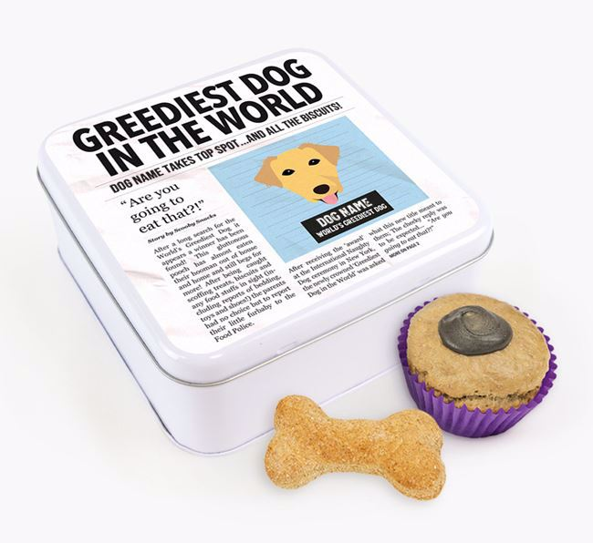 Personalised 'Greediest Dog' Newspaper Print Square Tin for your Borador