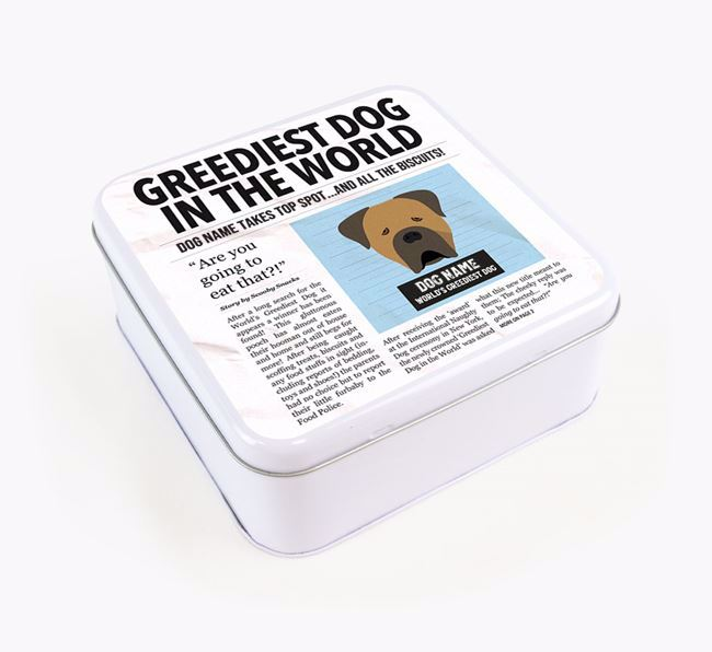 Personalised 'Greediest Dog' Newspaper Print Square Tin for your Cane Corso Italiano