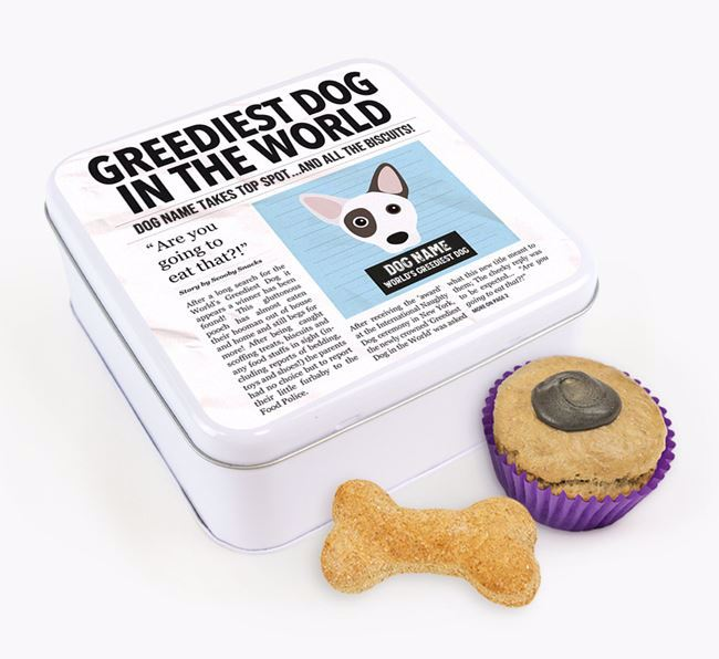 Personalised 'Greediest Dog' Newspaper Print Square Tin for your Cojack
