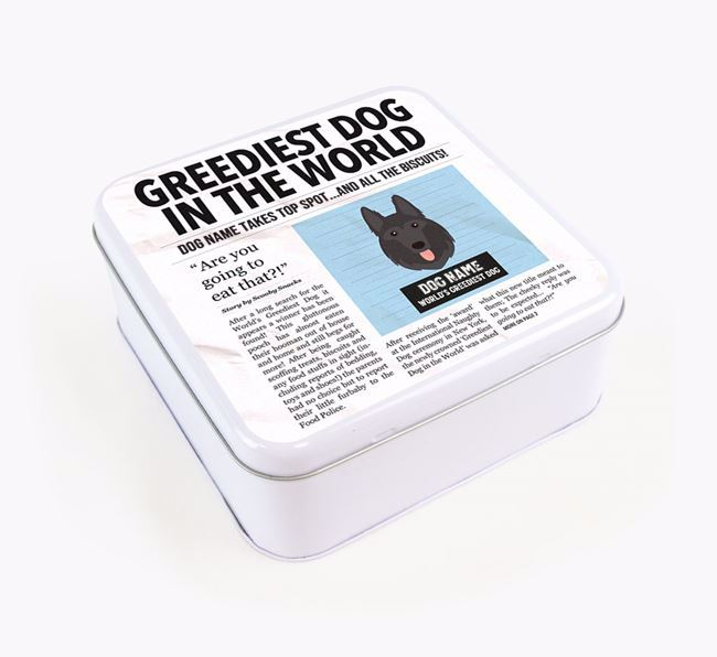Personalised 'Greediest Dog' Newspaper Print Square Tin for your German Shepherd