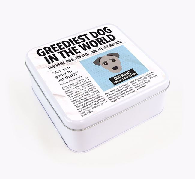 Personalised 'Greediest Dog' Newspaper Print Square Tin for your Jack-A-Poo