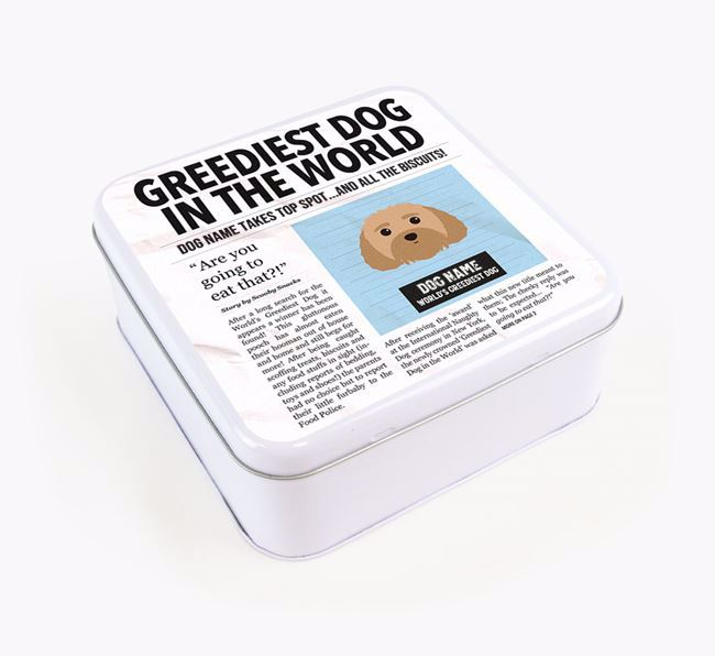 Personalised 'Greediest Dog' Newspaper Print Square Tin for your Dog