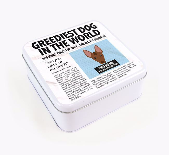 Personalised 'Greediest Dog' Newspaper Print Square Tin for your Mexican Hairless