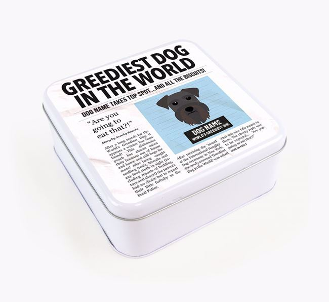 Personalised 'Greediest Dog' Newspaper Print Square Tin for your Schnauzer