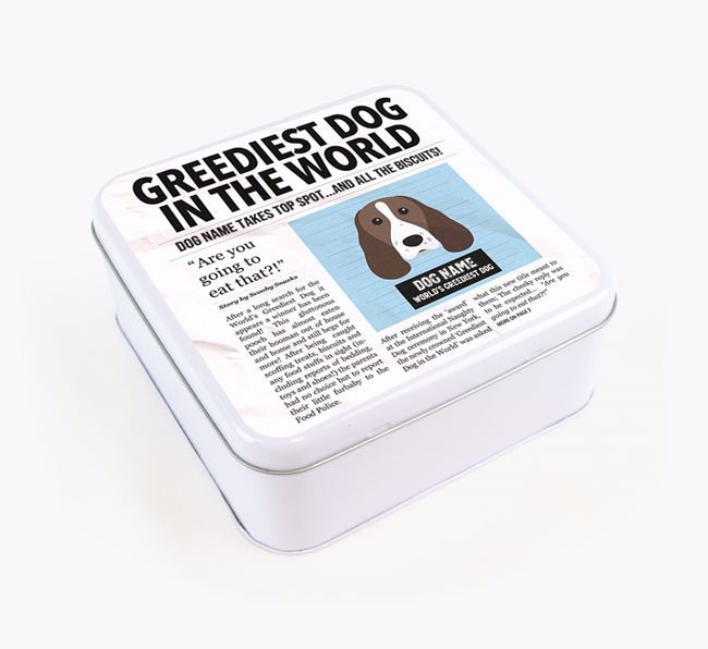 Personalised 'Greediest Dog' Newspaper Print Square Tin for your Springer Spaniel