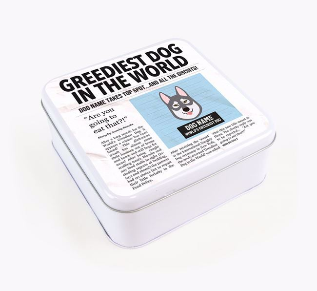 Personalised 'Greediest Dog' Newspaper Print Square Tin for your Tamaskan