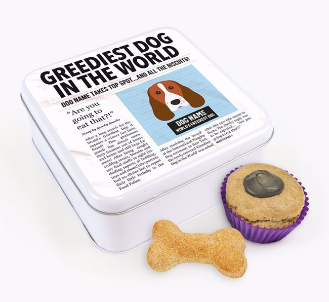 Personalised 'Greediest Dog' Newspaper Print Square Tin for your Welsh Springer Spaniel