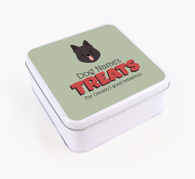 Personalised Retro Design Square Tin for your Belgian Groenendael