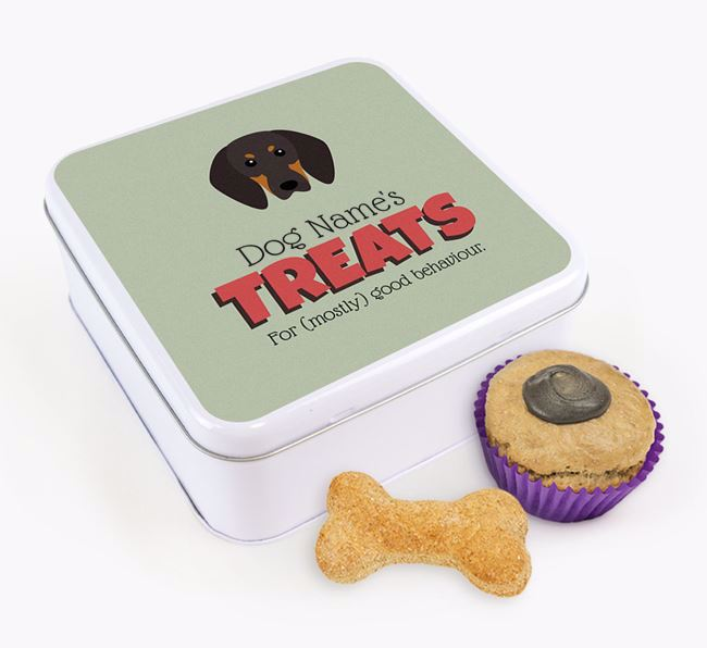 Personalised Retro Design Square Tin for your Black and Tan Coonhound