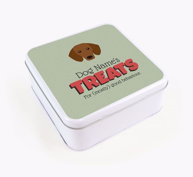 Personalised Retro Design Square Tin for your Dachshund
