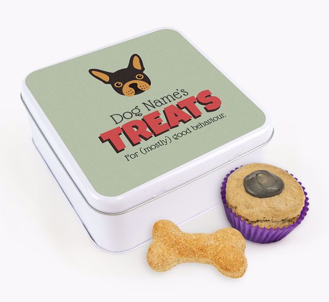 Personalised Retro Design Square Tin for your French Bulldog