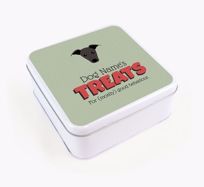 Personalised Retro Design Square Tin for your Greyhound