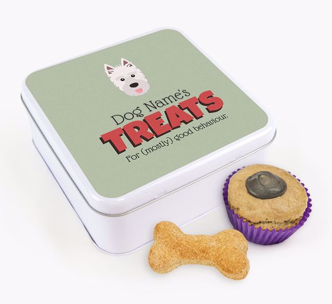 Personalised Retro Design Square Tin for your Picardy Sheepdog