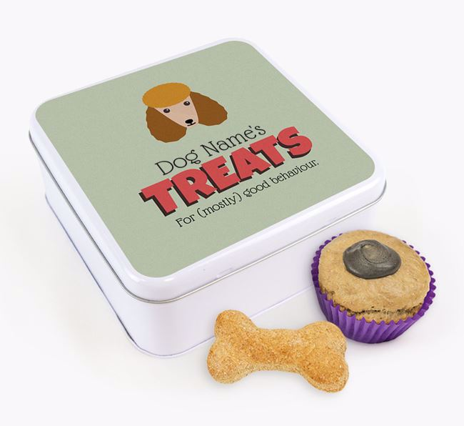 Personalised Retro Design Square Tin for your Poodle