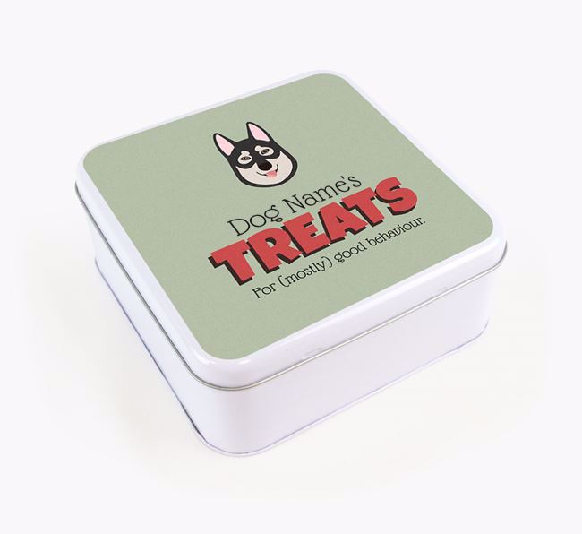 Personalised Retro Design Square Tin for your Tamaskan
