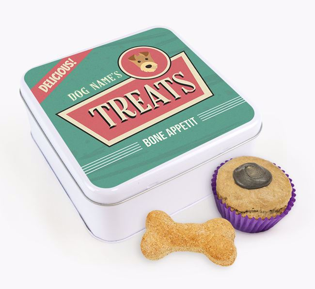 Personalised Retro Square Tin for your Airedale Terrier
