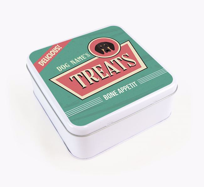 Personalised Retro Square Tin for your Black and Tan Coonhound