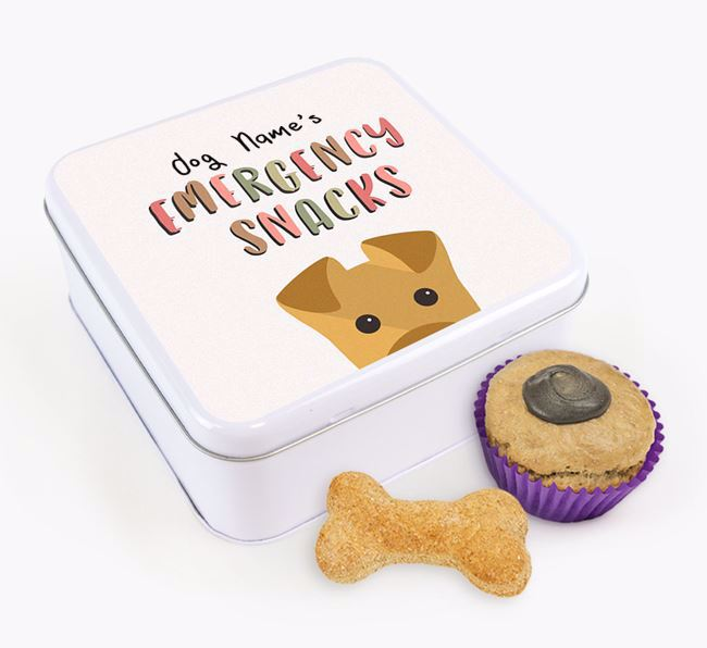 'Best Treats in Town' Square Tin for your Airedale Terrier