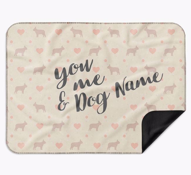 Personalised Hearts Blanket with French Bulldog Silhouettes