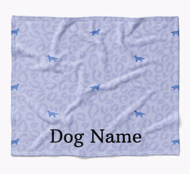 Personalized Leopard Print Flat-Coated Retriever Blanket