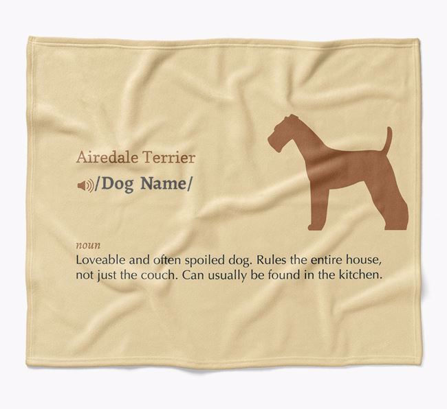 Personalized Definition Blanket with Airedale Terrier Silhouette