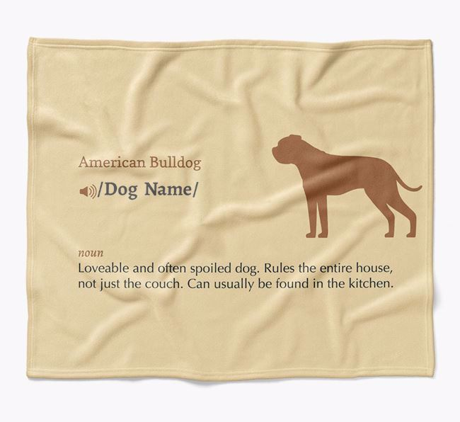 Personalized Definition Blanket with American Bulldog Silhouette
