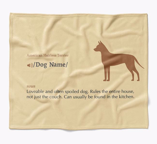Personalized Definition Blanket with American Hairless Terrier Silhouette