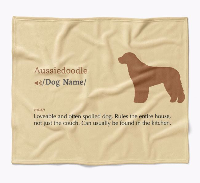 Personalized Definition Blanket with Aussiedoodle Silhouette