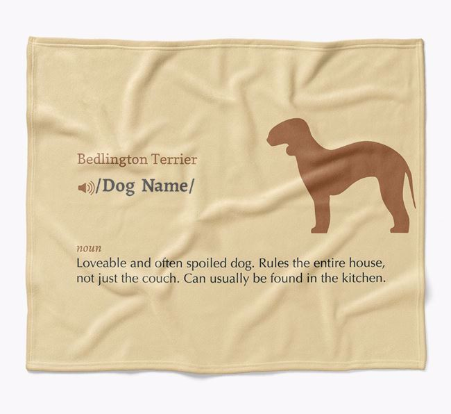 Personalized Definition Blanket with Bedlington Terrier Silhouette