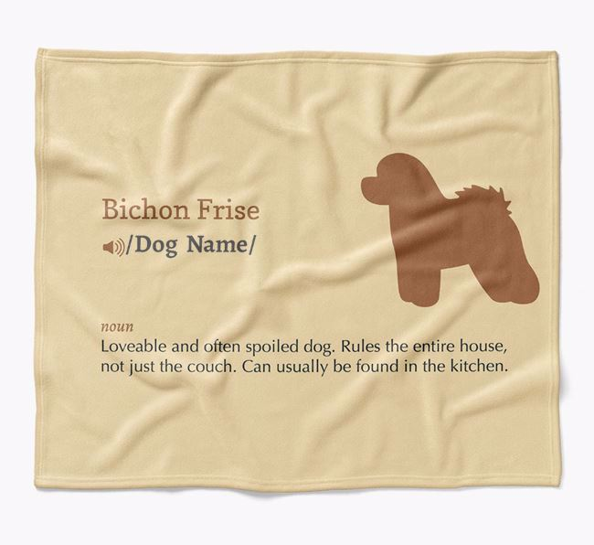 Personalized Definition Blanket with Bichon Frise Silhouette