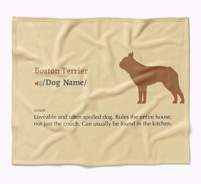 Personalized Definition Blanket with Boston Terrier Silhouette