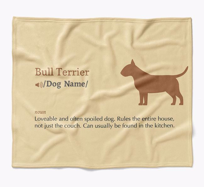 Personalized Definition Blanket with Bull Terrier Silhouette
