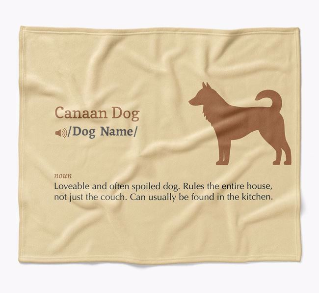 Personalized Definition Blanket with Canaan Dog Silhouette