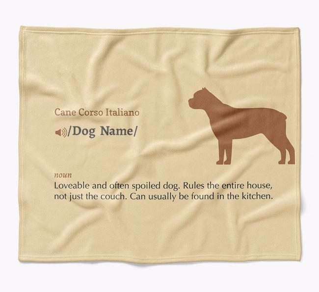 Personalized Definition Blanket with Cane Corso Italiano Silhouette