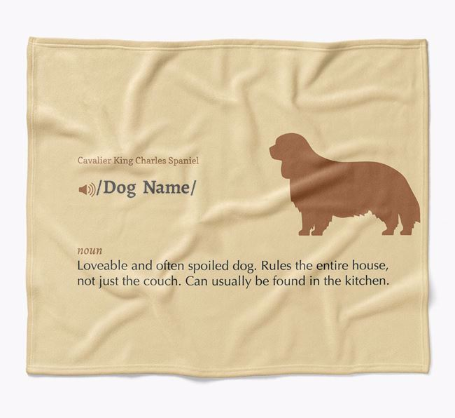 Personalized Definition Blanket with Cavalier King Charles Spaniel Silhouette