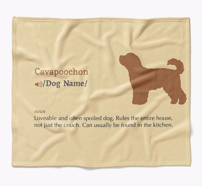 Personalized Definition Blanket with Cavapoochon Silhouette