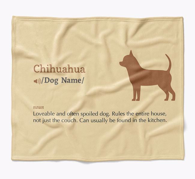 Personalized Definition Blanket with Chihuahua Silhouette