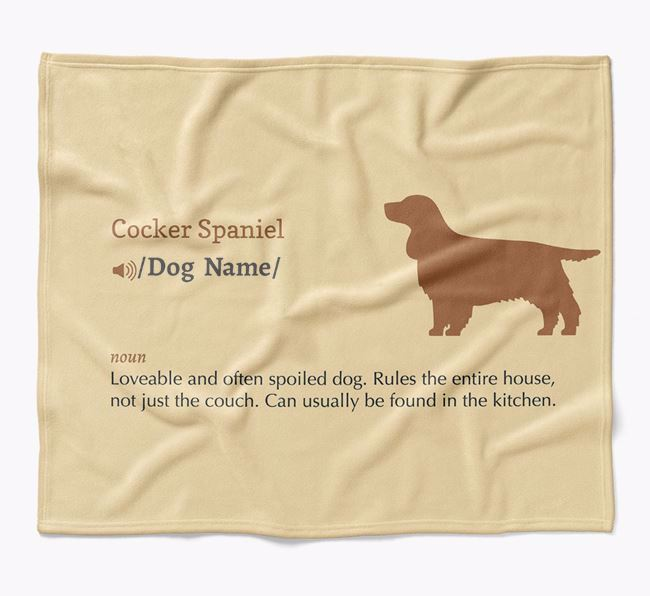 Personalized Definition Blanket with Cocker Spaniel Silhouette